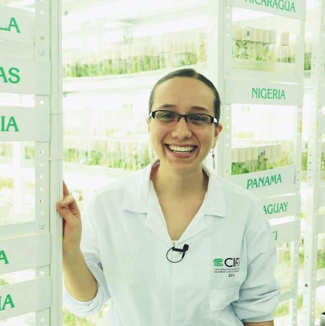Genebank technician inside CIAT's facilities in Cali, Colombia.Credit: Shawn Landersz
